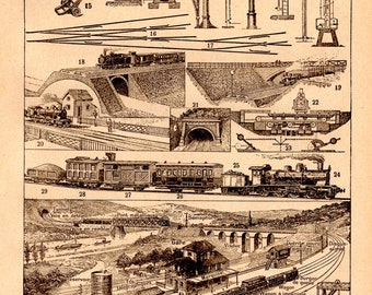 Mounted and Matted Available Framed Train Victorian Technology 1849 Railway Tunnel Large Original Antique Engraving Locomotive