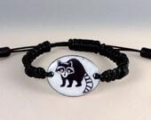 Raccoon bracelet. Enamel ...