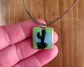Cactus necklace. Enamel o...