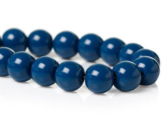 10 pearls 8mm glass blue opaque