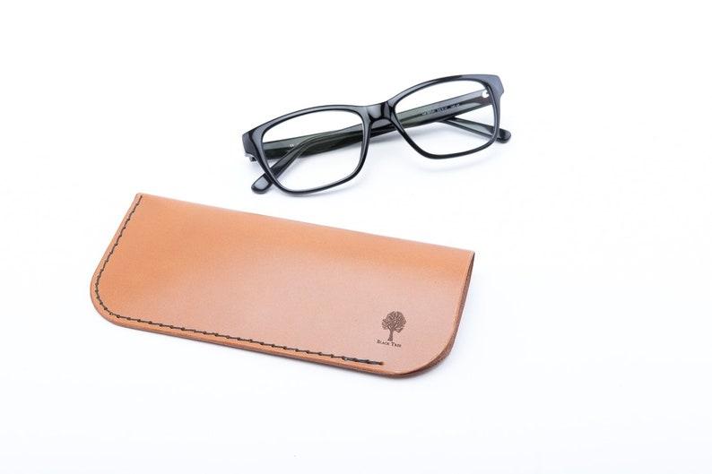 Slim Leather Eyeglass Case, Slim Hand-Sewn Eyeglass Case, Leather Eyeglasses Cover