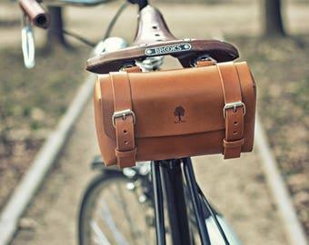 leather bicycle tool bag, bicycle saddle bag, leather handlebar bag, bike seat bag, leather bike bag, leather bike tool bag (rivets, buckles