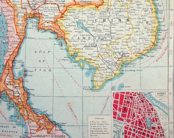 Hanoi map art | Etsy