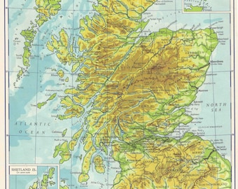 Scotland map   Etsy