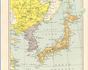 Map Of Asia 1960.Items Similar To Vintage Map Korea And Japan Indochina Thailand