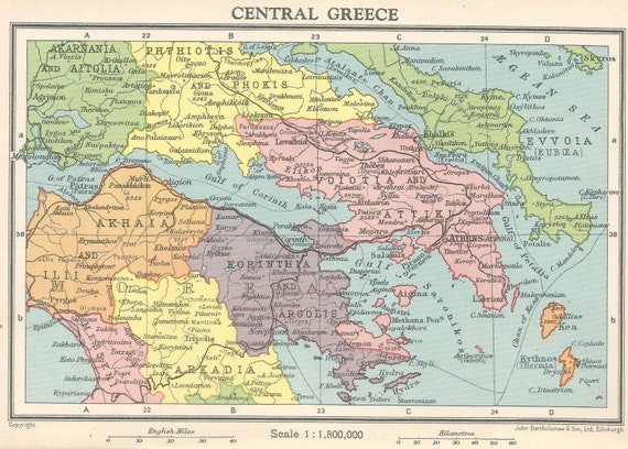 Central Greece And Athens Greek Vintage Map Europe Aegean Etsy