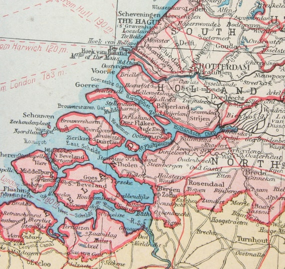 Holland 1920s Amsterdam Rotterdam Large Map Europe Travel Map Etsy