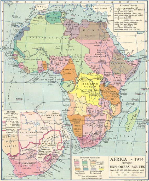 Africa In 1914 Explorers Map Vintage Prints Home Decor Framing Etsy