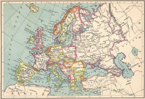1930s Map Of Europe.Europe Physical Maps 1930s Travel Adventure Maps For Home Etsy