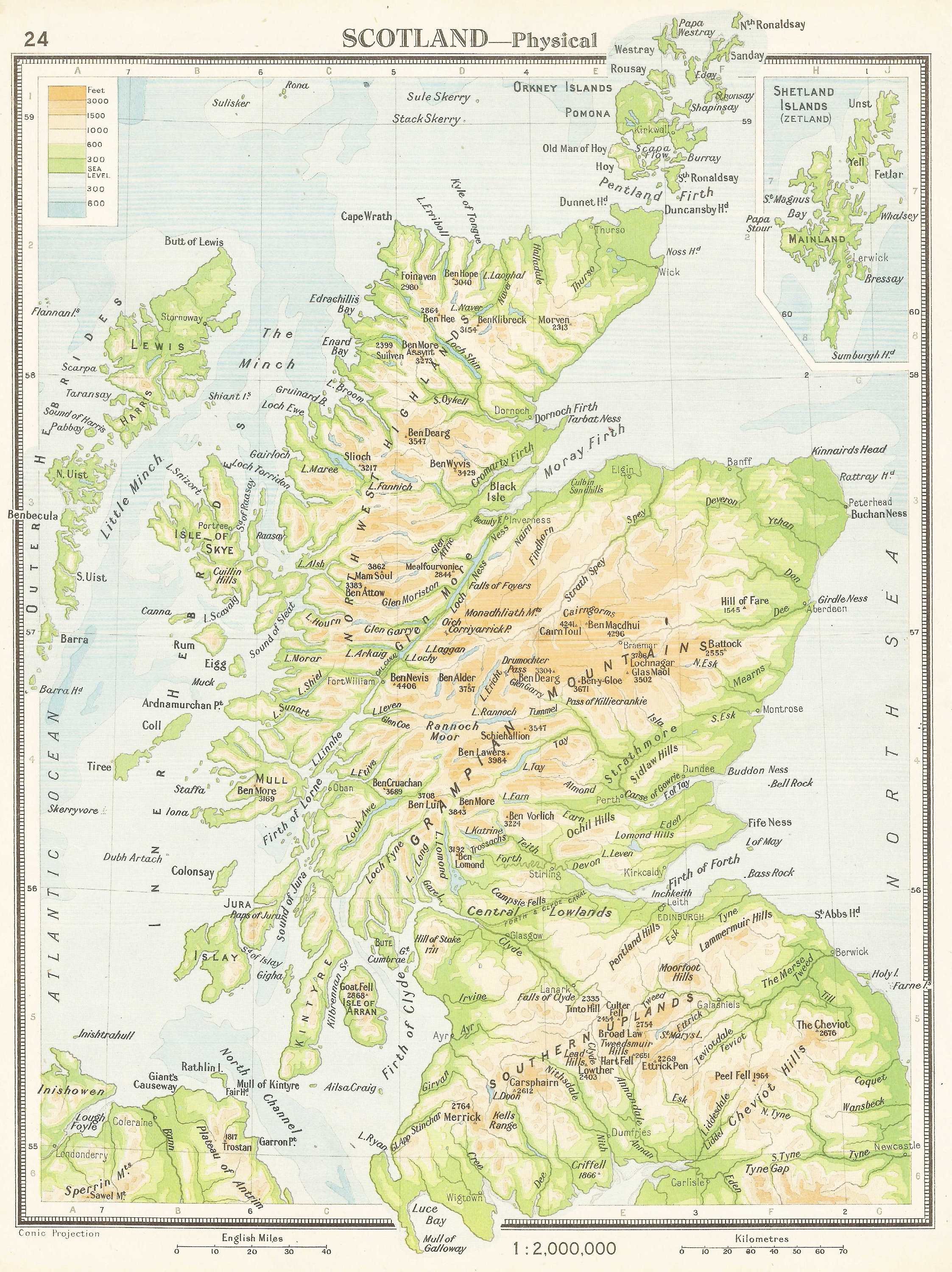Map Of Uk 1500.Scotland Antique 1940s Map Uk Green Highlands Of Scotland Etsy