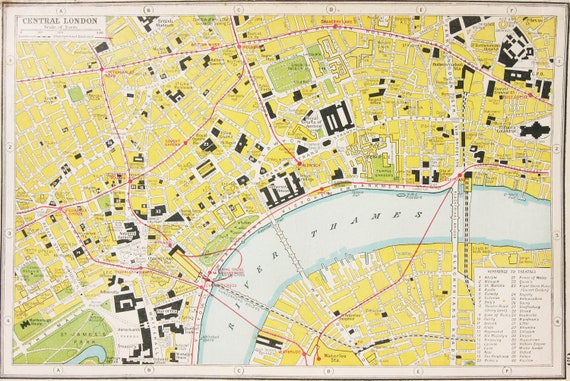 London Center Map.Antique Central London Detailed 1920s Art Map Vintage Map Gifts Framing Gifting London Underground