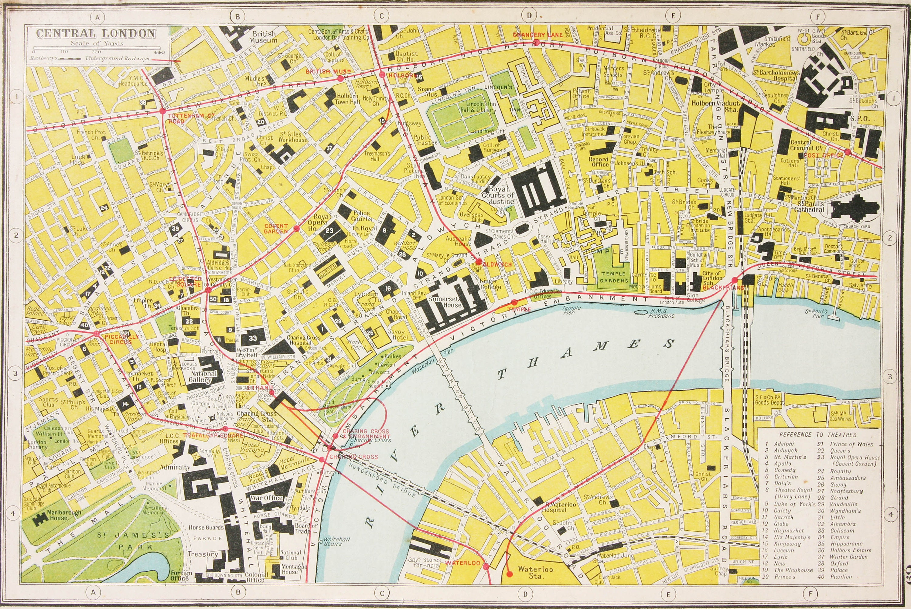 Full Map Of London.Antique Central London Detailed 1920s Art Map Vintage Map Gifts Framing Gifting London Underground