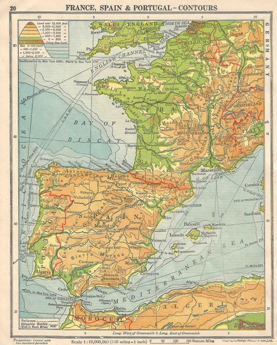 Map Of Portugal Spain France.France Spain Portugal 1930s Europe Contour Map Antique Gift Home Decor Vintage Prints Old Maps