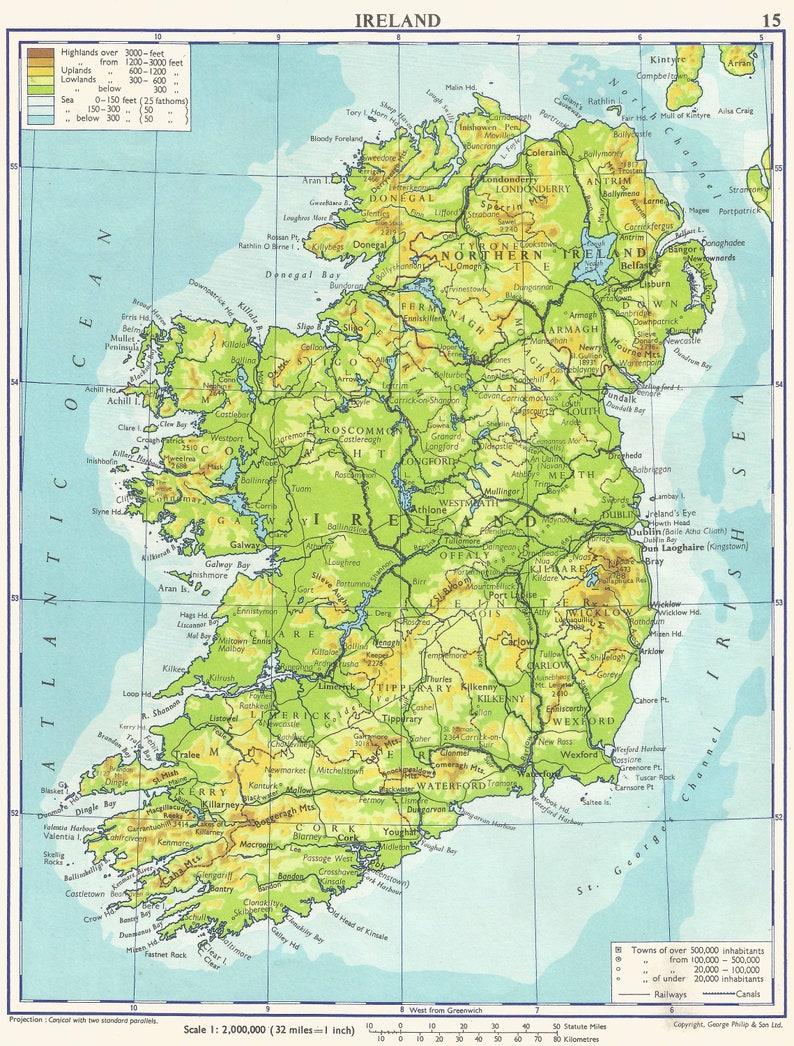 Ireland Map Travel Adventure Maps For Home Decor Irish Vintage Etsy
