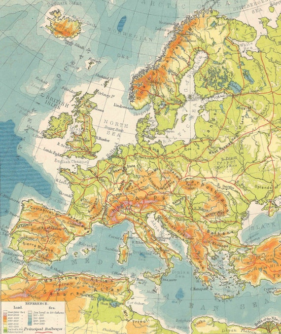 1920s Europe Map.Europe Physical Map 1920 Gift Adventure Vintage Prints Old Etsy