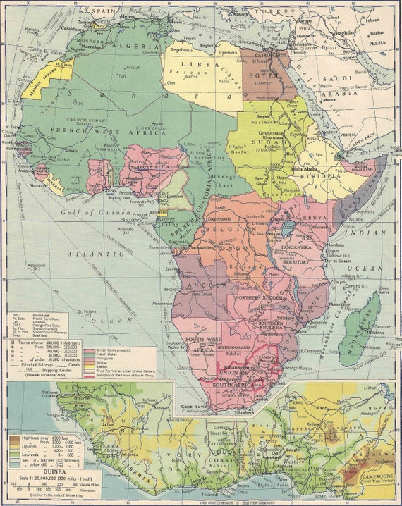 Colonial Africa Political Map 1950 Travel Adventure Maps For Etsy