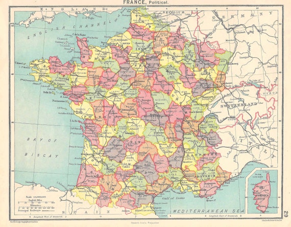 1920s Europe Map.France Political Map 1920s Travel Adventure Maps For Home Etsy