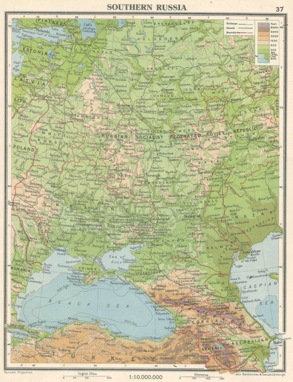 Southern Russia Baltic States old maps home decor Vintage Prints old maps  rail map