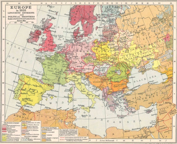 Europe In 1928 Political Frontiers Europe Map Antique Home Etsy