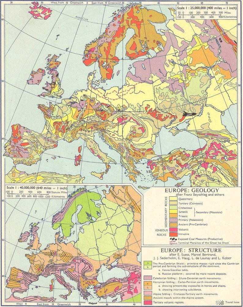 Carte Geologique Australie.Aventure De Voyager Dans Leurope 1960 Carte Geologique Des Etsy