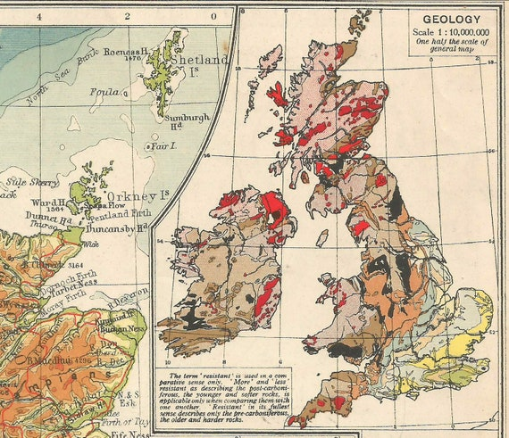 British Isles And Geological map 1920s travel adventure maps for home decor  geology geography Europe Vintage Prints old maps
