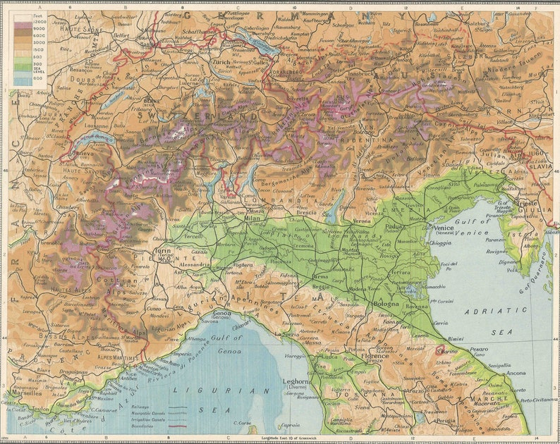 Map Of Germany Switzerland And Italy.The Alps Italy Switzerland Austria Germany 1930s Gift Adventure Vintage Prints Old Maps