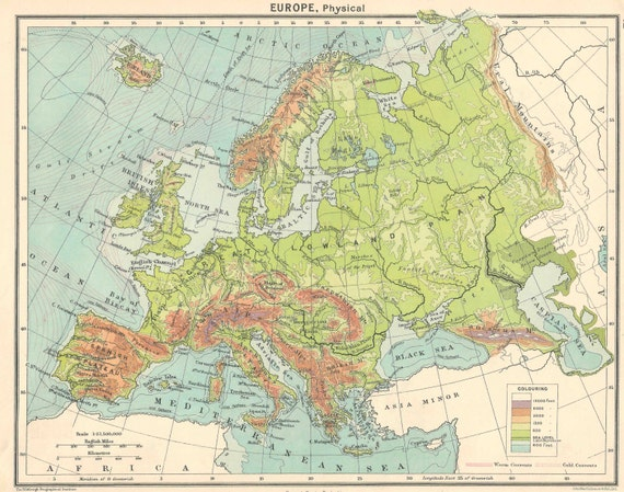 Physical Map Of Europe And Asia.Europe Physical Maps 1920s Travel Adventure Maps For Home Etsy