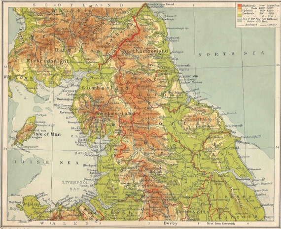 North Of England Map.Northern England Map Travel Adventure Maps For Home Decor Vintage Prints Old Maps England Scotland Newcastle