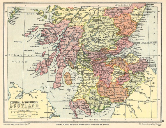 Central Scotland, Vintage Map 1920s Antique Map home decor lithograph  Vintage Prints old maps gifts Scottish Highlands Glasgow Edinburgh