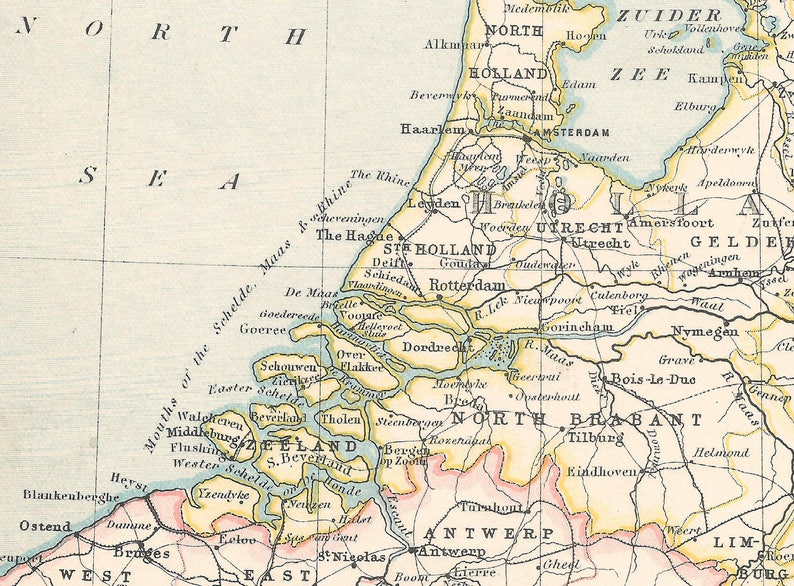 Map Of France And Holland Belgium.Holland Belgium And Luxemburg 1800s Gift Adventure Vintage Etsy