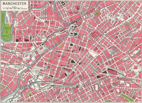 Manchester Antique City Map 1900s England home decor Vintage