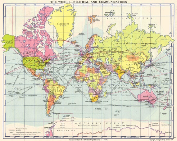 World Map 1950s old maps home decor Vintage Prints old maps   Etsy