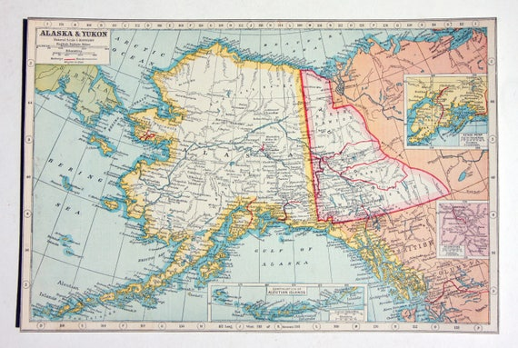 Alaska & Kukon Antique City Map 1920s large Map United states art Vintage  map Gifts Framing Gifting Whitehorse Ancharage