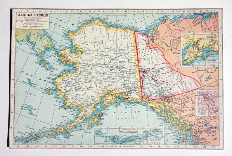 Alaska Kukon Antique City Map 1920s Large Map United States Etsy