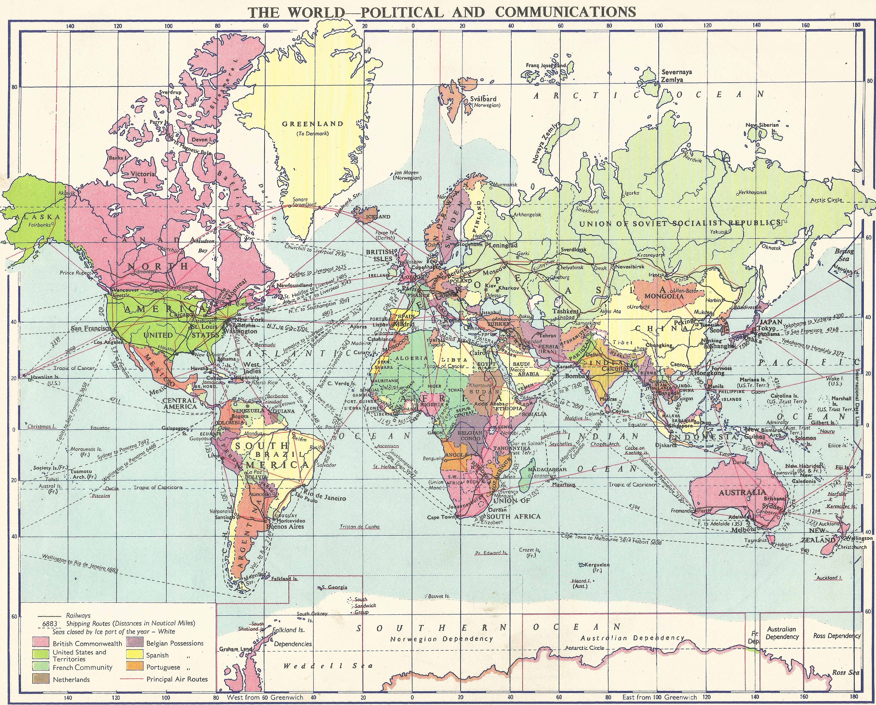 Political Map Of The World In 1960 Vintage Home Decor Vintage Etsy