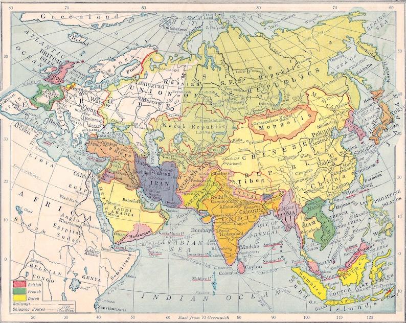 Politische Karte Asien.Asien Karte Kolonialen Politischen 1920er Jahre Vintage Lithographie Drucke Wohnkultur Karten Reisen Nahen Osten Fernost Philippinen