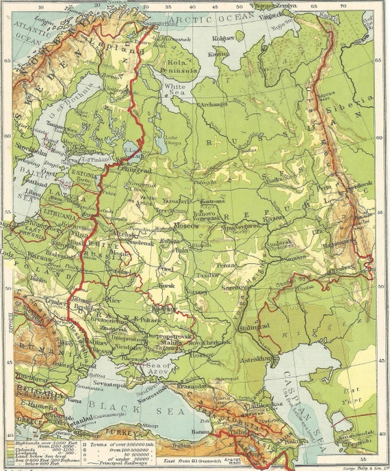 Russia, Pre-World War Two Europe Baltic States 1938 old maps home decor  Vintage Prints old maps rail map