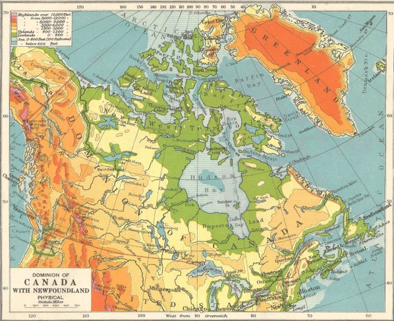 Canada Newfoundland Alaska 1910s Old Maps Home Decor Vintage Etsy
