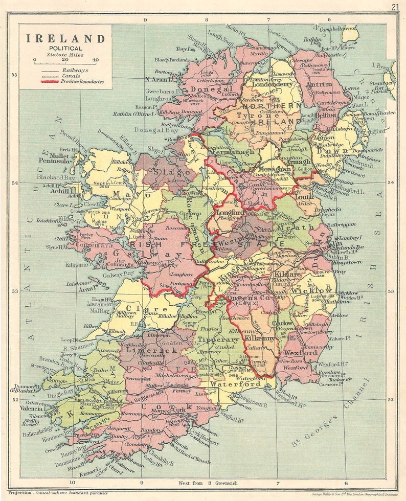 Ireland 1930s Old Maps Home Decor Vintage Prints Map Gifts Etsy