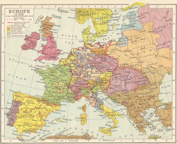 Map Of England And Europe.Europe In 1519 Political Frontiers Europe Map Antique Home Decor Antique Vintage Prints Old Maps Germany England