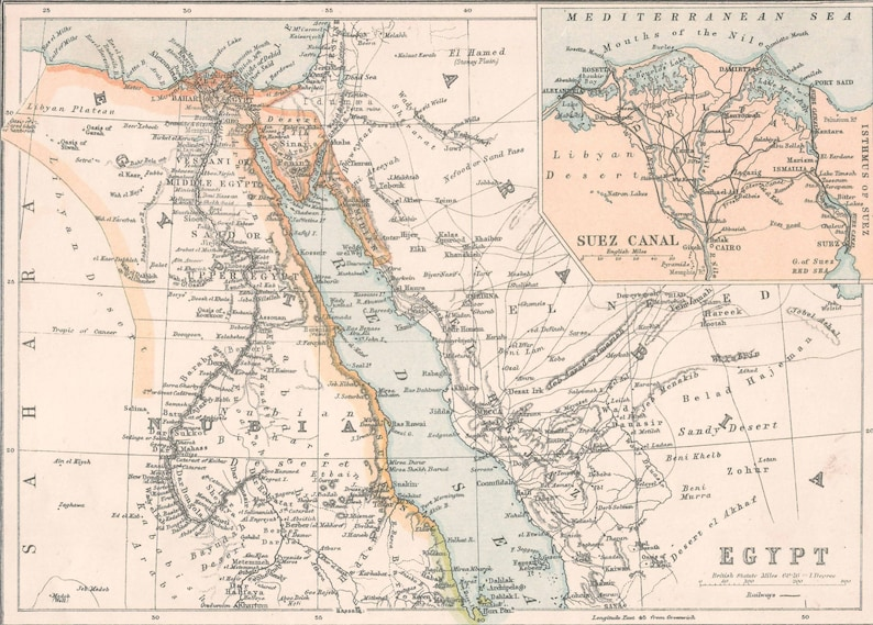 Suez Canal On Africa Map.Egypt And Nile Delta Africa 1900s Old Maps Suez Canal Home Etsy