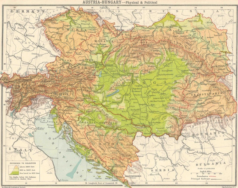 Hungary Political Map.Austria Hungary 1910s Europe Political Map Antique Home Decor Etsy