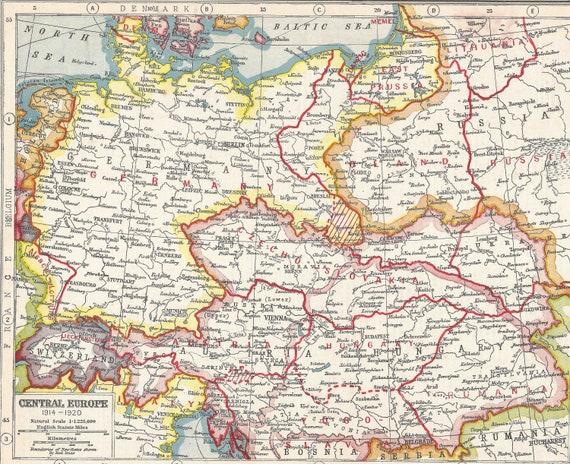 Central Europe Political Map.First World War 1914 1920 Central Europe Political Maps Etsy