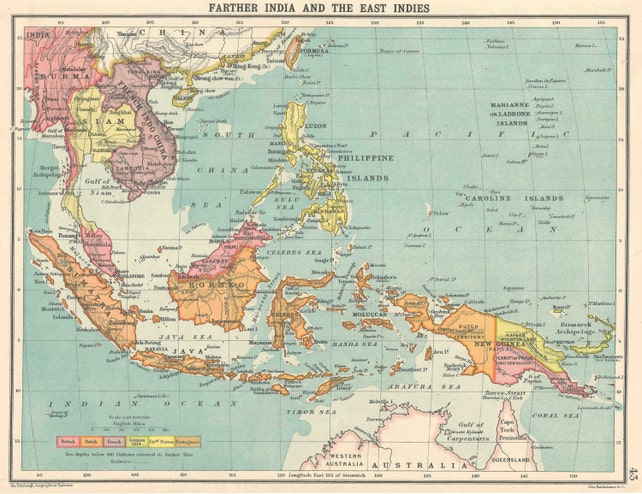 Farther India And The East Indies 1910s Political Map Antique Etsy