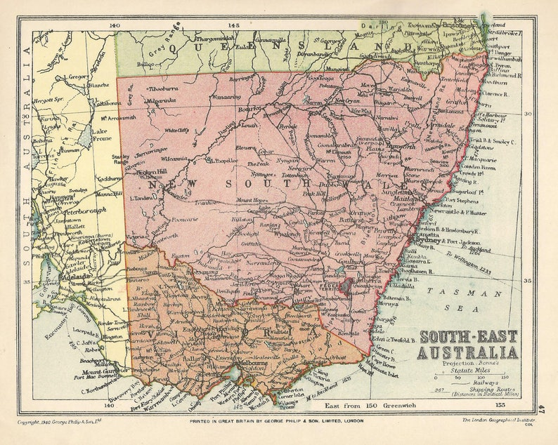 Map Eastern Australia.South East Australia Antique Map 1940s Vintage Maps Lithograph Prints Home Decor Travel Sydney New South Wales Canberra