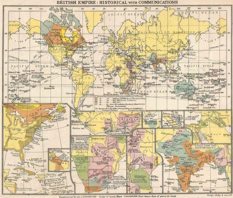 British Empire Historical World Map old maps home decor Vintage Prints  British Isles Communications Antique
