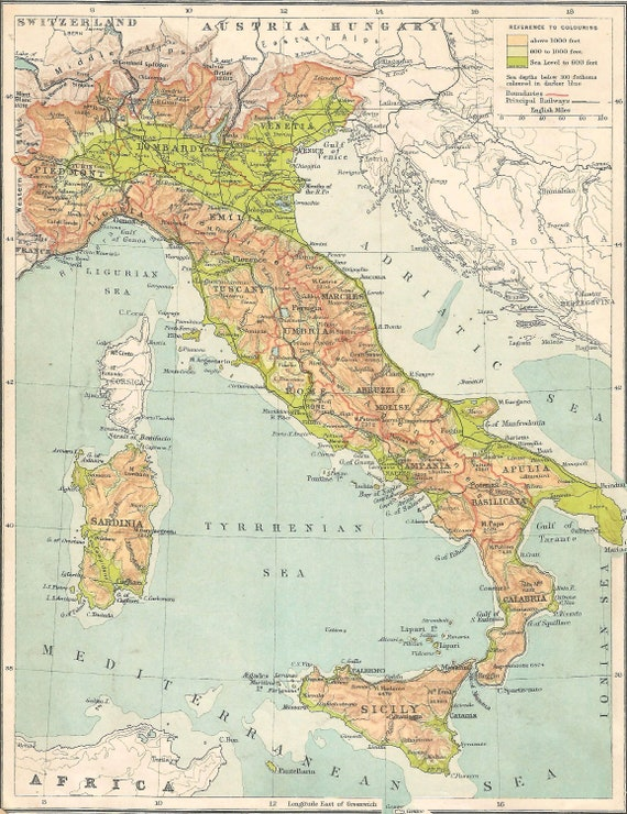 Cartina Antica Sardegna.Mappa Antica Italia 1910 Mappa Adriatico Sardegna Mappa Etsy