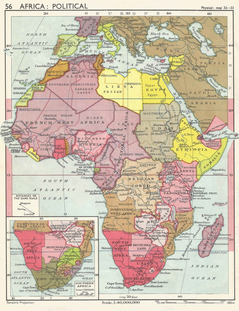 Africa Political, 1950 post Colonial maps Egypt Mococco South Africa  Vintage Prints old maps