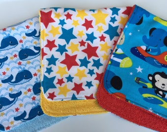 Whales, Stars and Airplanes Burp Cloths