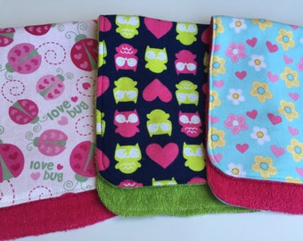 Lady Bugs, Owls and Flowers Burp Cloths